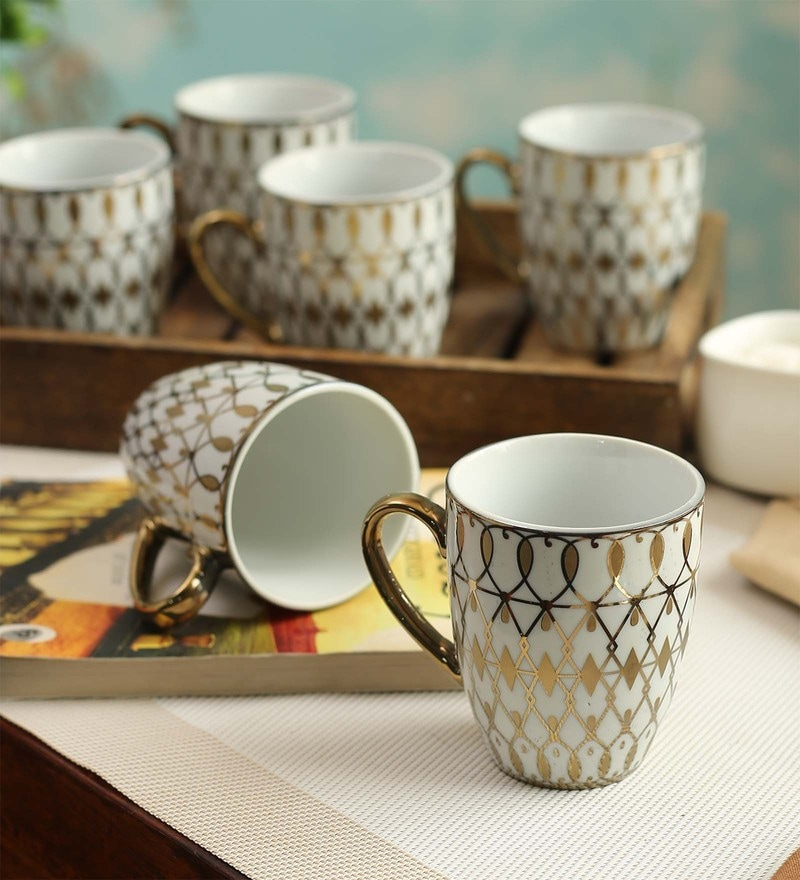 Ceradeco Coffee Series Porcelain 200 ML Mugs - Set of 6