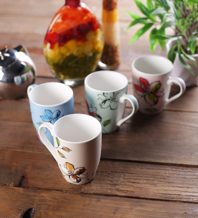 Ceradeco Floral Ceramic 325 ML Milk Mugs - Set of 4