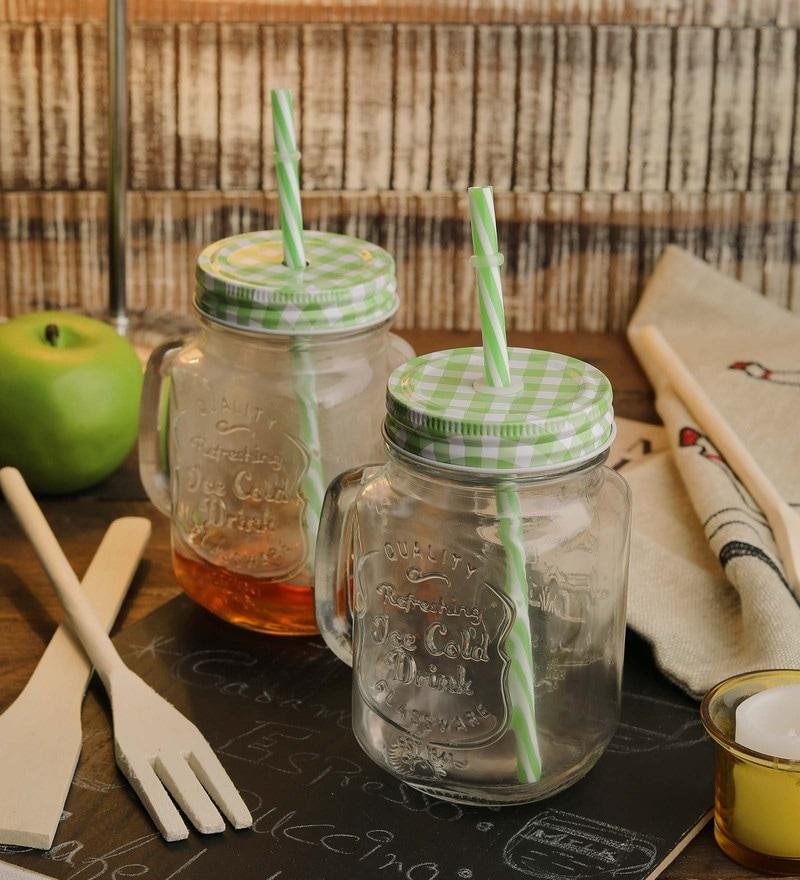Ceradeco mason jar set set with straws 400ml set of 4 jar
