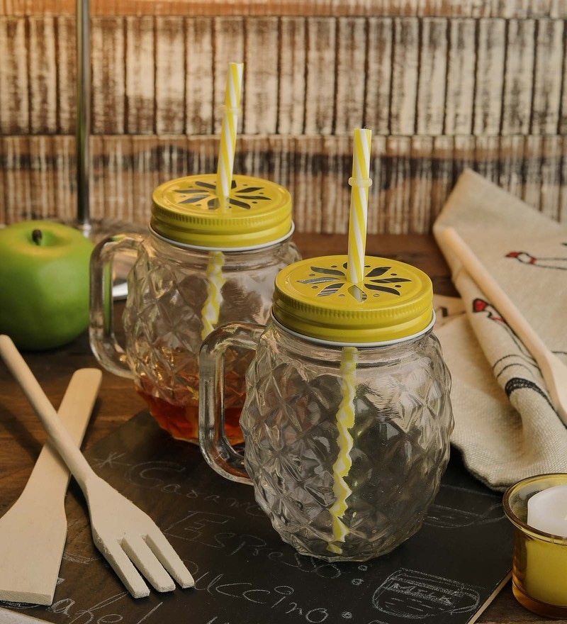 Ceradeco Mason jar set with pineapple design with straws 400 ml set of 4 jar set