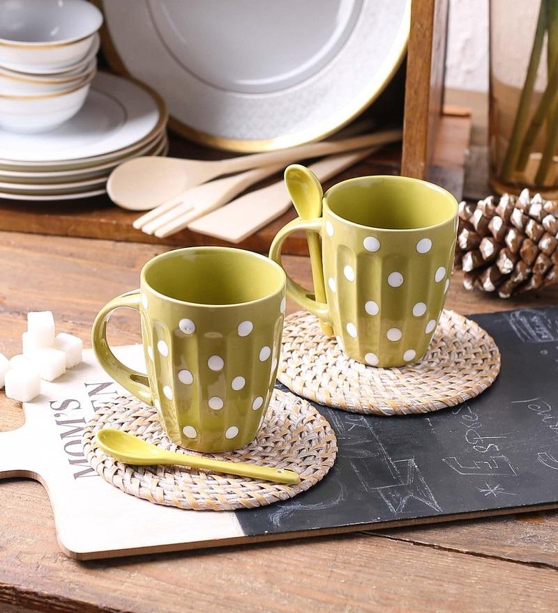 Ceradeco Polka Dot Mehndi Ceramic 250 ML Mugs - Set of 4