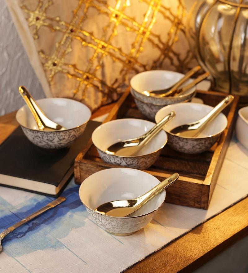 Ceradeco Porcelain 200 ML Soup Bowls with Spoons - Set of 6