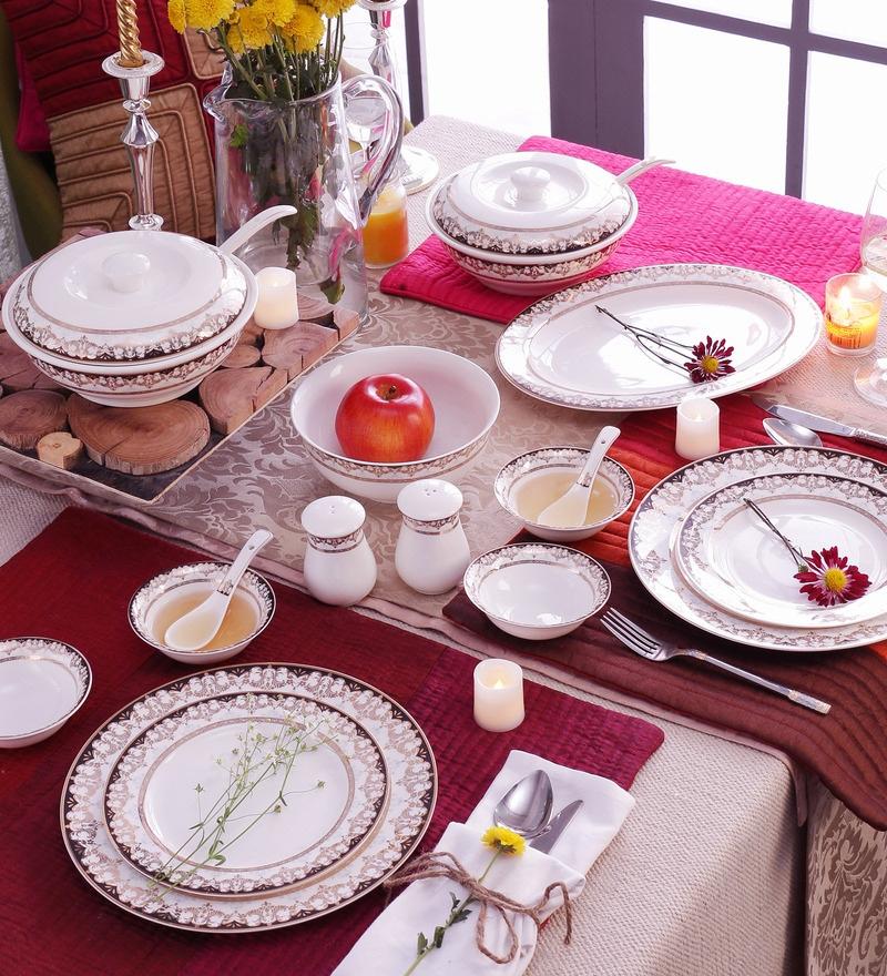 Royal Gold Bone China Dinner Set - Set of 41 by Ceradeco