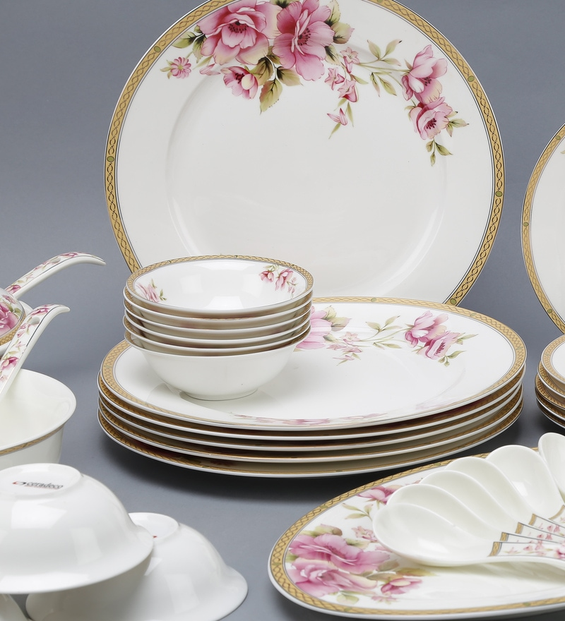 Click to Zoom In/Out & Buy Royal Gold Bone China Dinner Set - Set of 41 by Ceradeco Online ...