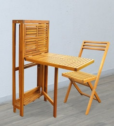 Chestnut Foldable Wall Table With Two Chairs In Teak Oil Finish