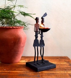 Chinhhari Arts Black Wrought Iron Tribal Couple Tea Light Holder