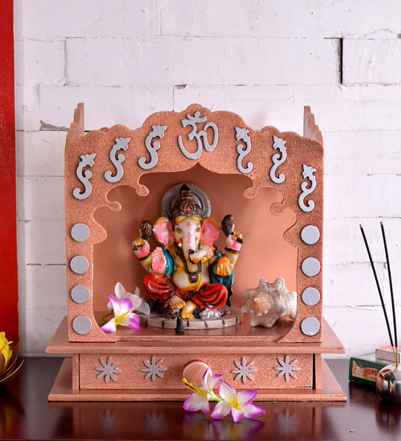Brown MDF Carved Table Top & Wall Temple by ShriNath