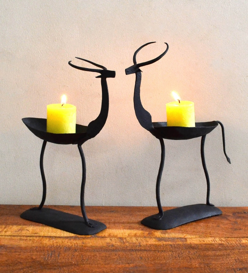 Black Wrought Iron Deer Pair Tea Light Holder by Chinhhari Arts