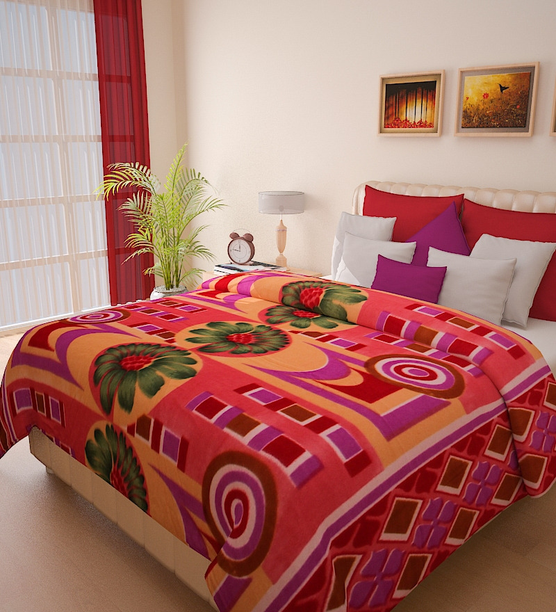 Christine Orange Double Bed Blanket by Bombay Dyeing