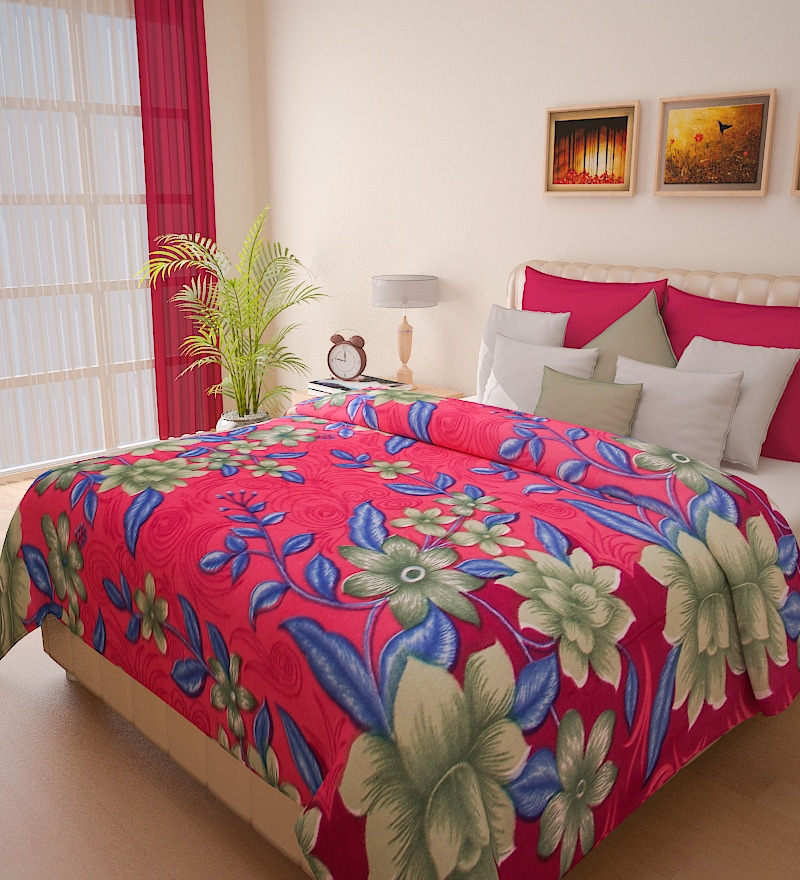 Christine Pink Double Bed Blanket by Bombay Dyeing