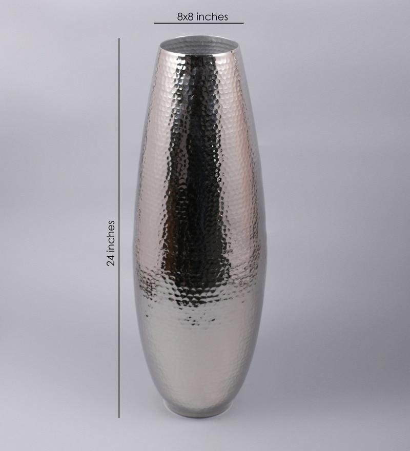 Buy Silver Metal 8 X 8 X 24 Inch Large Silver Hammered Vase By Swhf Online Metal Vases Vases