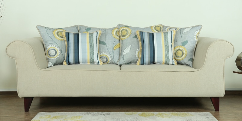 Cielo Three Seater Sofa in Beige Colour by CasaCraft