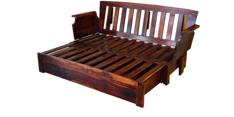 Cinnamon Storage Wooden Sofa Cum Bed With Mudramark By