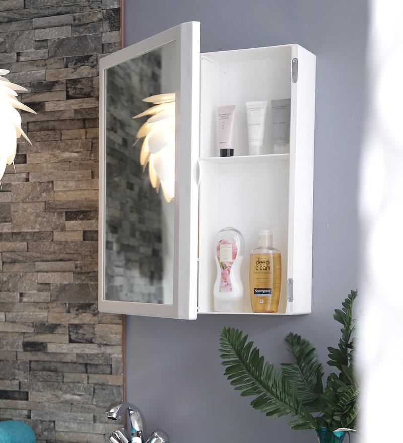 Flora Bathroom Mirror Cabinet - White by Cipla Plast