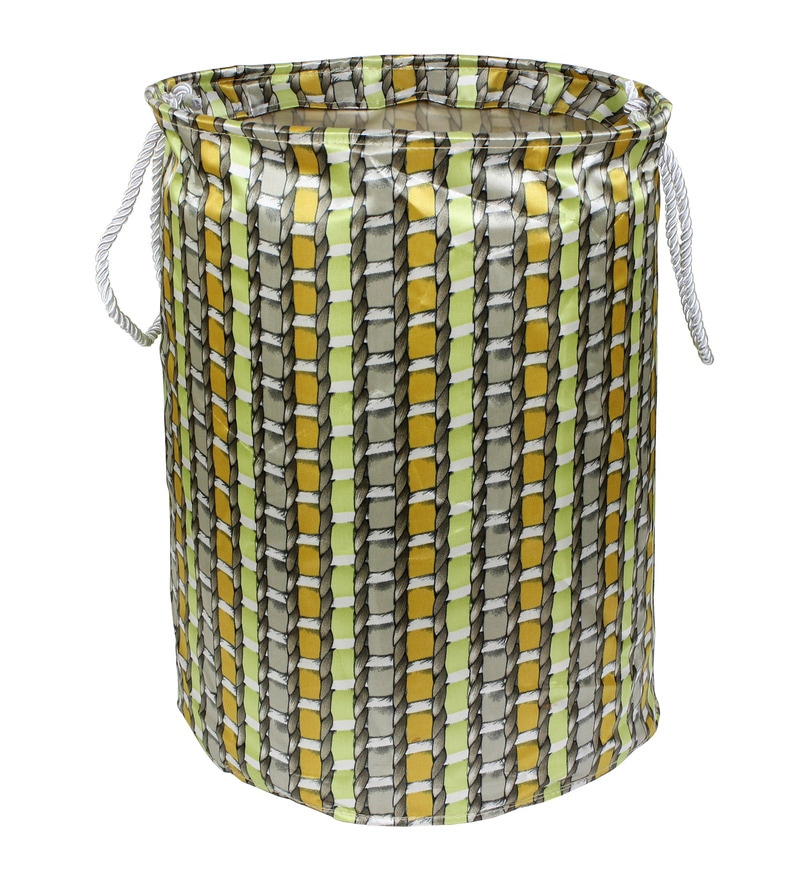 Cipla Plast Texture Fabric 20 L Multicolour Laundry Basket & Bag