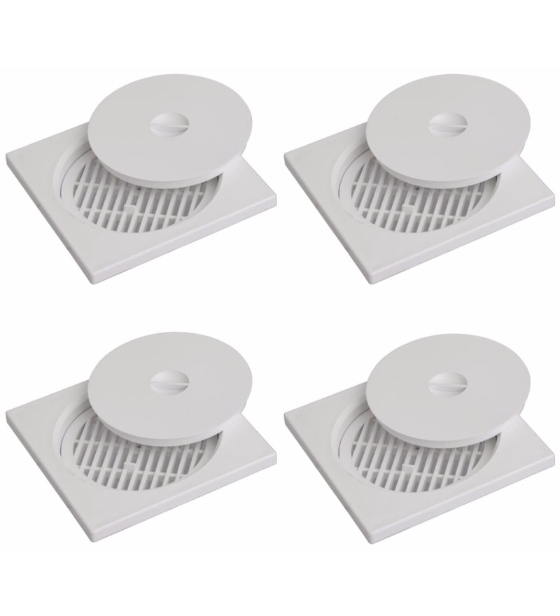 CiplaPlast Shower Floor Drain / strainer with lid  - BRC 732 White (Pack of 4)
