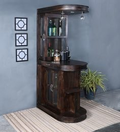 Clarke Bar Unit In Warm Chestnut Finish