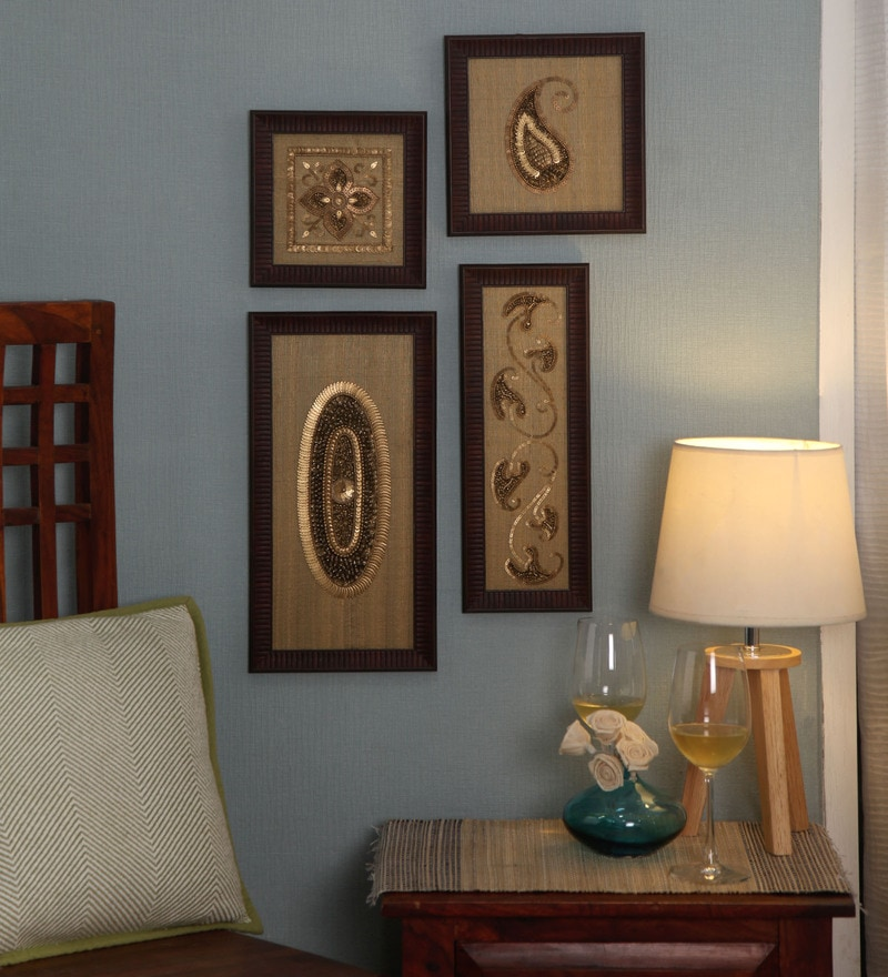 Multicolour Silk & MDF Modern Paisley Wall Art - Set of 4 by ClasiCraft
