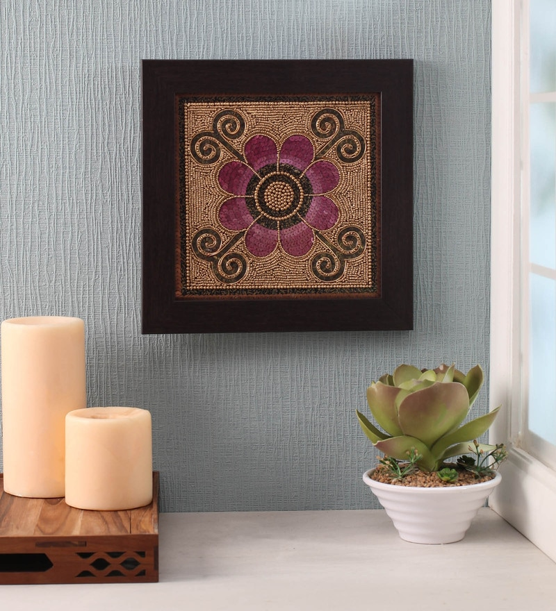 Pink Beads on Canvas Board 11 x 0.5 x 11 Inch Flower Framed Wall Art by ClasiCraft