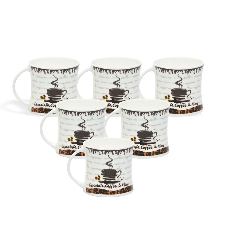 Clay Craft Cafe Crema Bone China 195 ML Cups - Set of 6