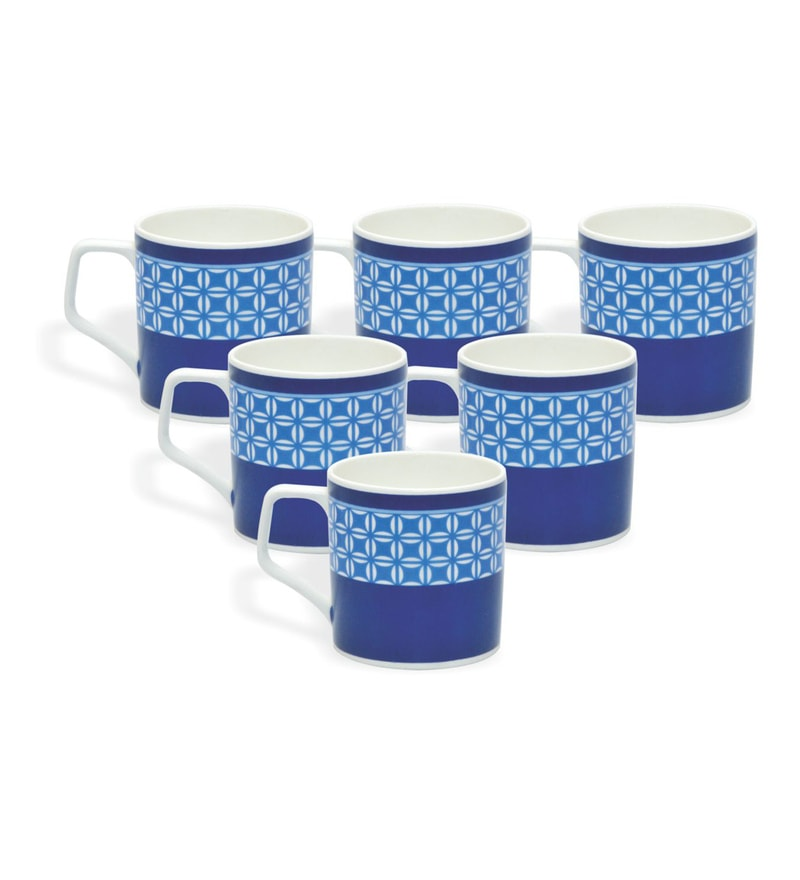 Clay Craft Iris Blue Bone China 220 ML Tea Cups - Set of 6