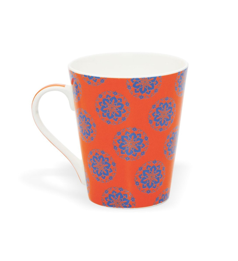 Clay Craft Plumbago Bone China 295 ML Mug - Set of 4
