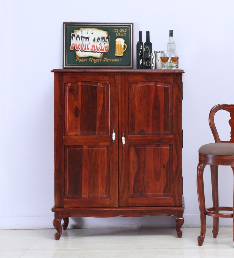 Clifford Bar Cabinet in Honey Oak Finish by Amberville