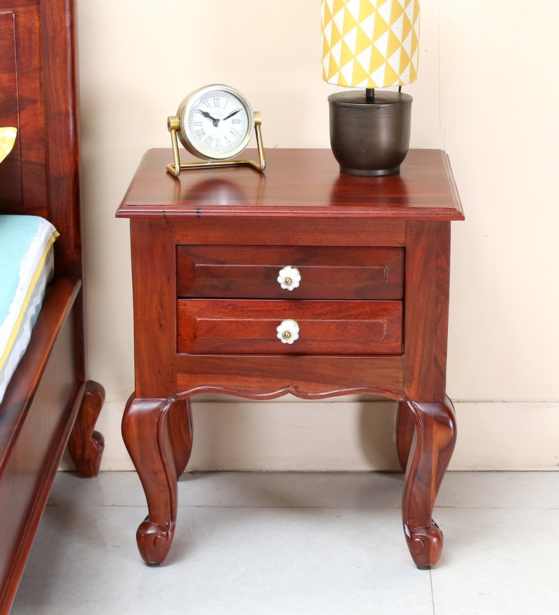Clifford Bed Side Table in Honey Oak Finish by Amberville