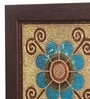 Clasicraft Blue Beads on Canvas Board 11 x 0.5 x 11 Inch Flower Framed Wall Art