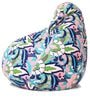 Classic Cotton Canvas Floral Design Bean Bag XL Size Cover Only by Style Homez
