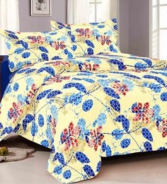 Cocobee Blue 100% Cotton King Size Bedsheet - Set Of 3