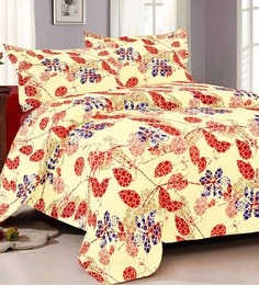 Cocobee Red 100% Cotton King Size Bedsheet - Set Of 3