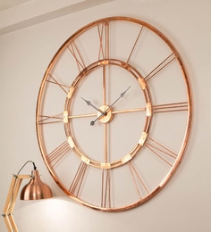 Copper Finish Metal 30 Inch Wall Clock