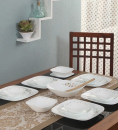 Corelle Square Round Gold Dancing Floral Vitrelle Glass Dinner Set - Set of 21 at pepperfry