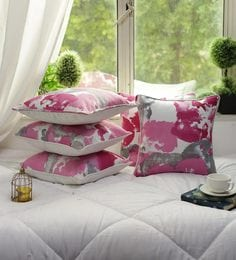 Cotton Abstract Design Purple Color Set Of 5 Cushion Cover