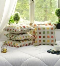Cotton Check Design Multi Color Set Of 5 Cushion Cover - 1705041