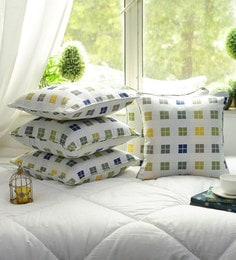 Cotton Stripes Design Green And Yellow Color Set Of 5 Cushion Cover - 1705048
