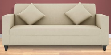 Cooper Three Seater Sofa in White Colour by ARRA at pepperfry