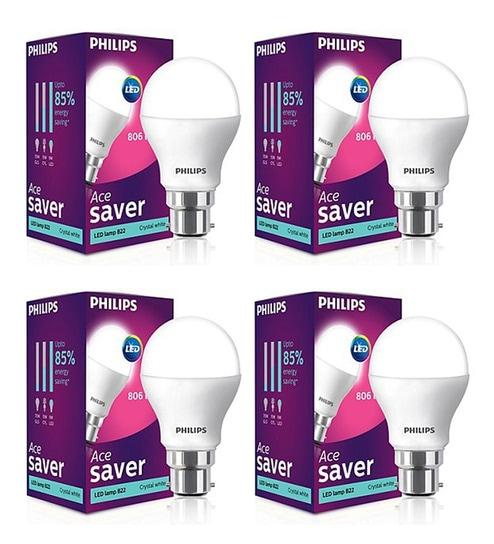 9 Watt B22 Cool Day Light LED Bulb, Set of 4 by Philips