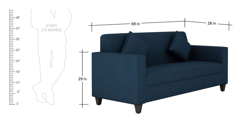 Buy Cooper Three Seater Sofa In Royal Blue Colour By Arra
