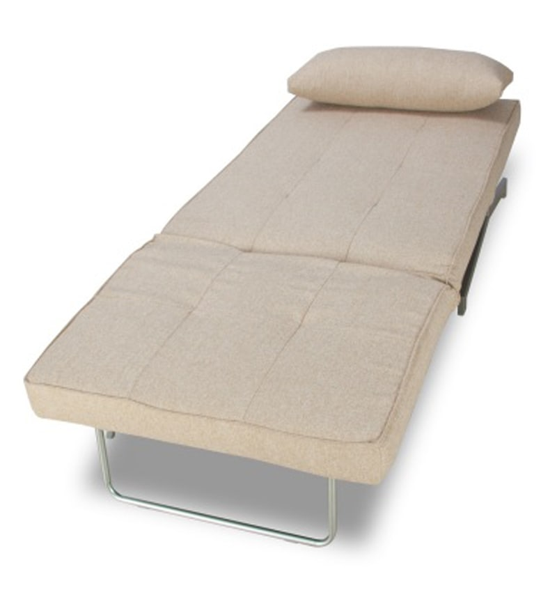 Compact And Foldable Beige Single Sofa Cum Bed By
