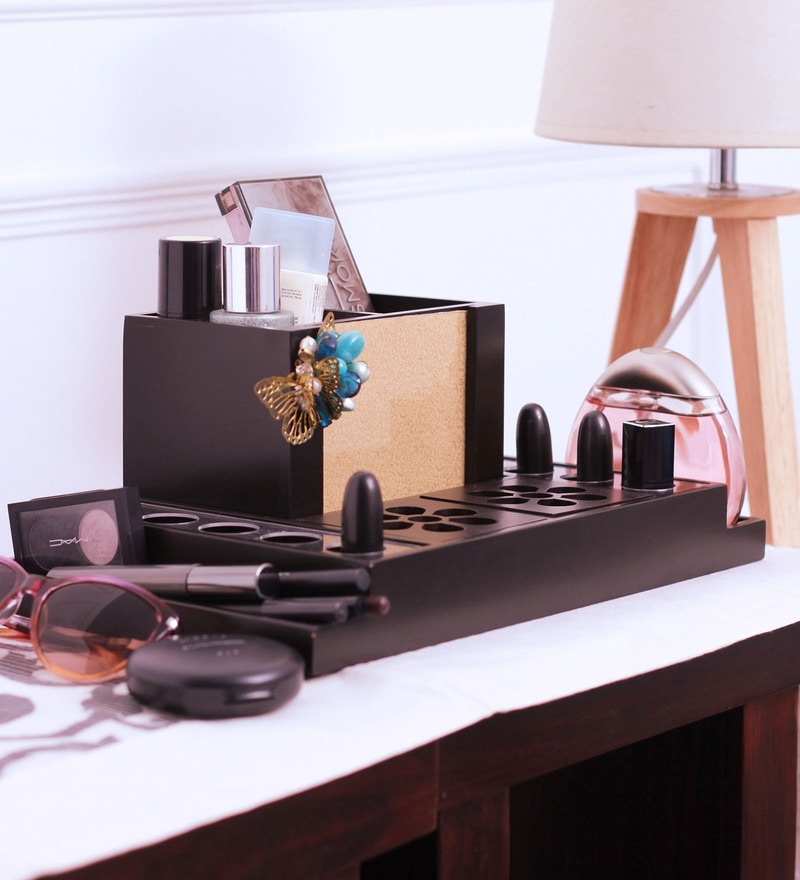 Wooden Brown Makeup Organizer with Photo Frame by Cocktail