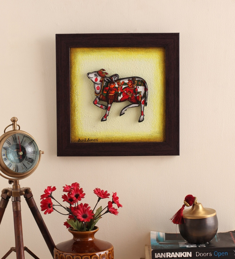 Canvas 10 x 2 x 10 Inch Textured Handmade Framed Rajasthani Style Phad Painting by Cocovey