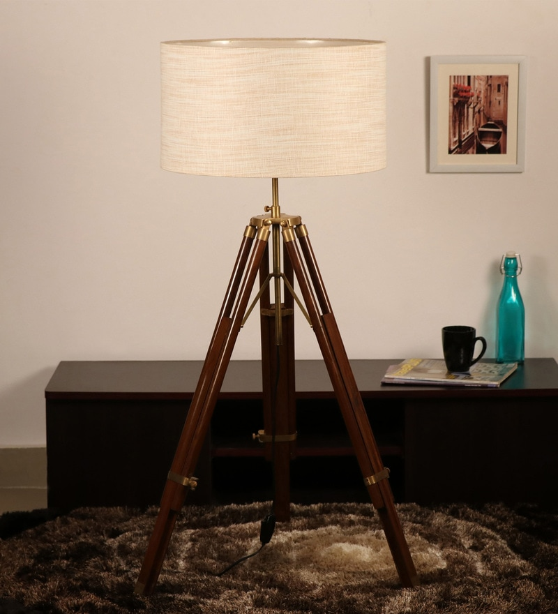 Off White Khadi Floor Tripod Lamp by Cocovey