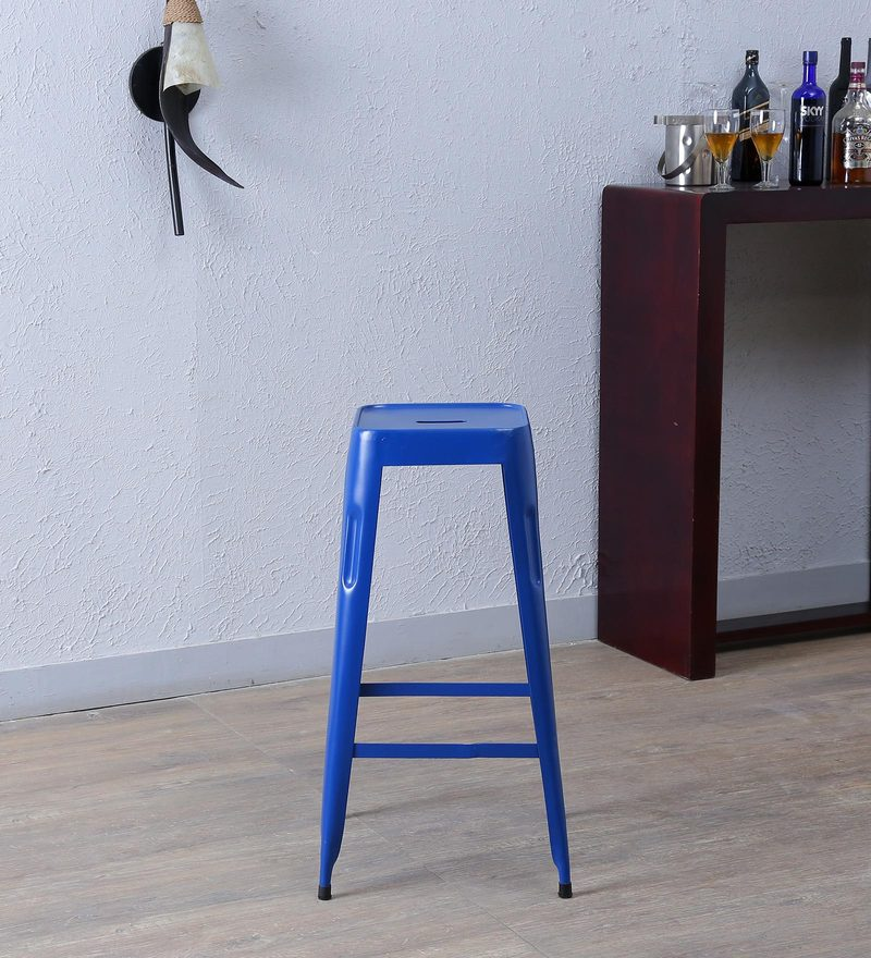 Cohen Metal Bar Stool in Blue Colour by Bohemiana