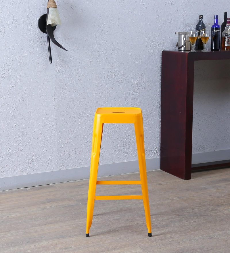Cohen Metal Bar Stool in Yellow Colour by Bohemiana