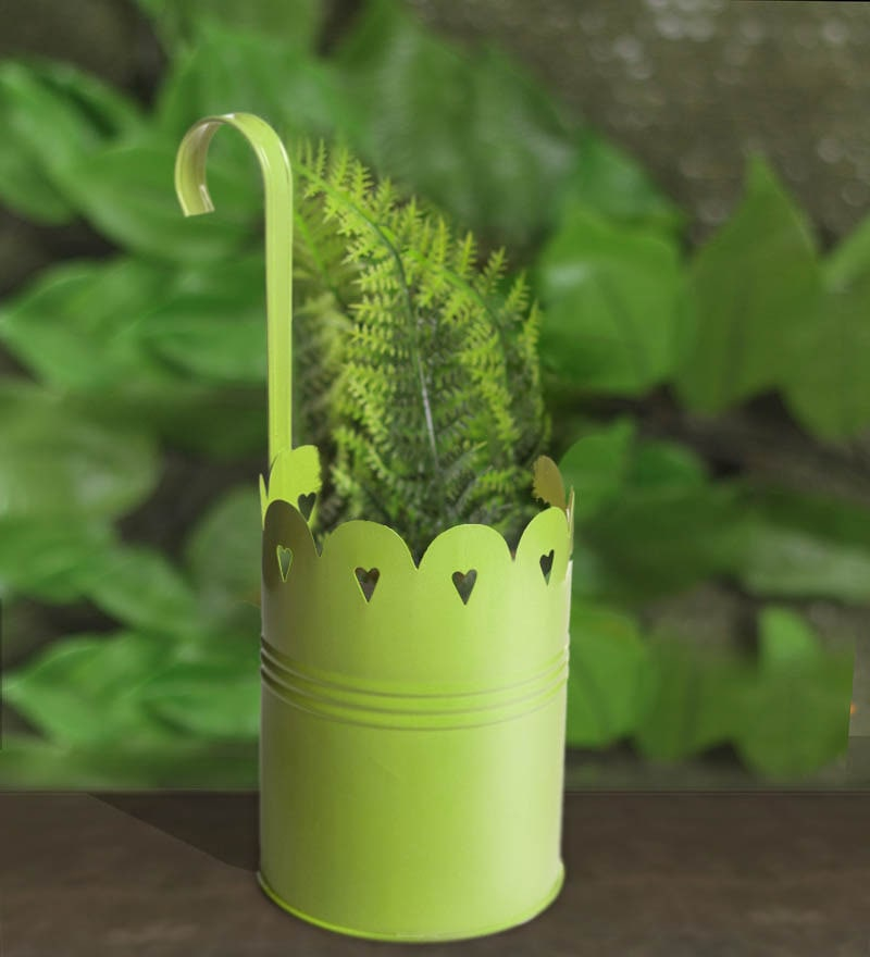 Green Metal Hanging Planter by Color Palette