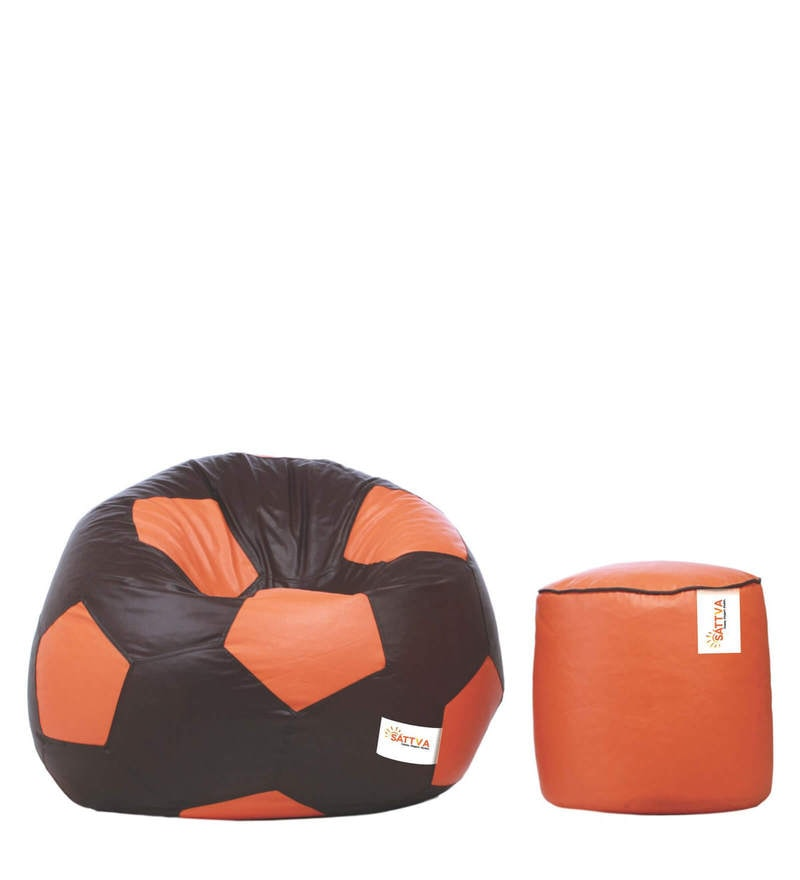 Combo Football Bean Bag  & Round Footstool with Beans by Sattva