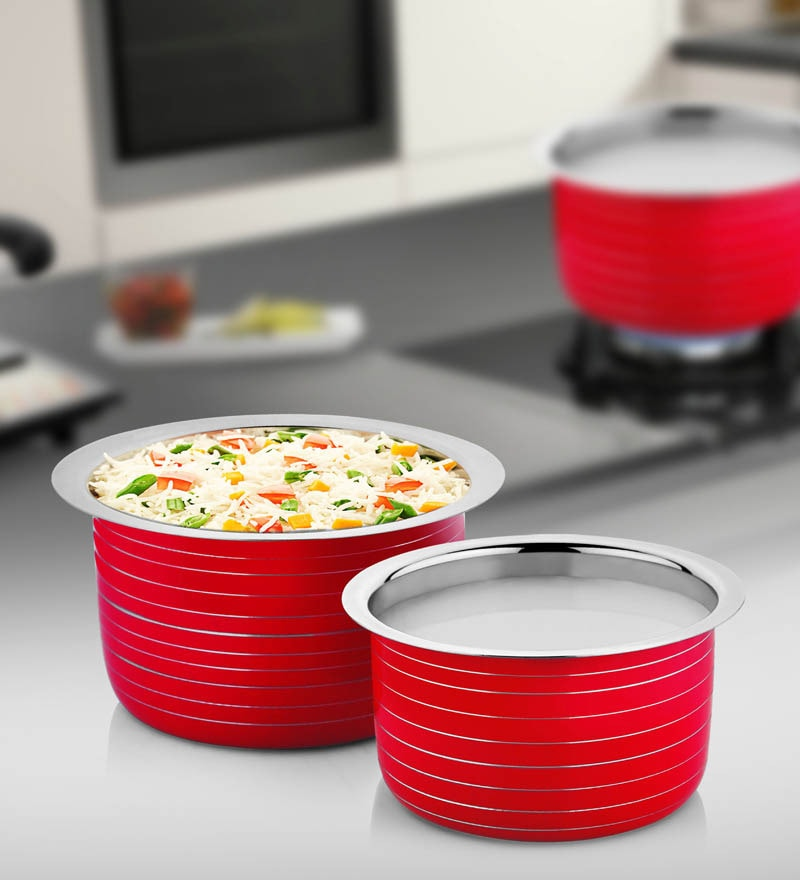 Red Stainless Steel Patila - Set of 2 by Cookaid Elite