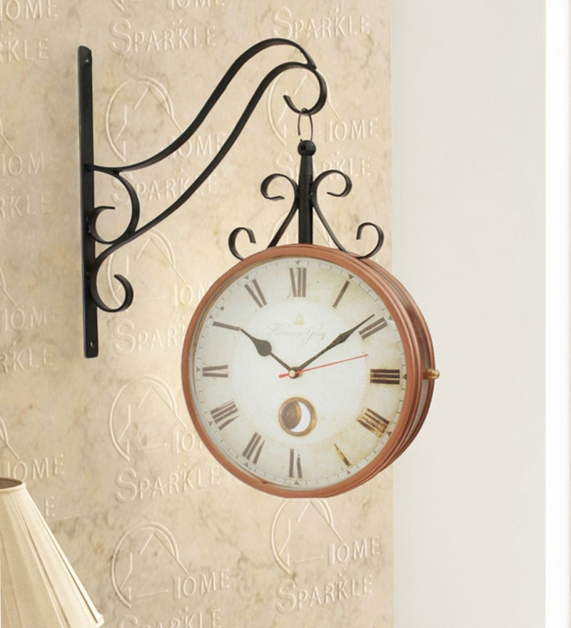 Copper & Black Mild Steel 13 x 4 x 15 Inch Vintage Style Two Sides Station Clock by Home Sparkle